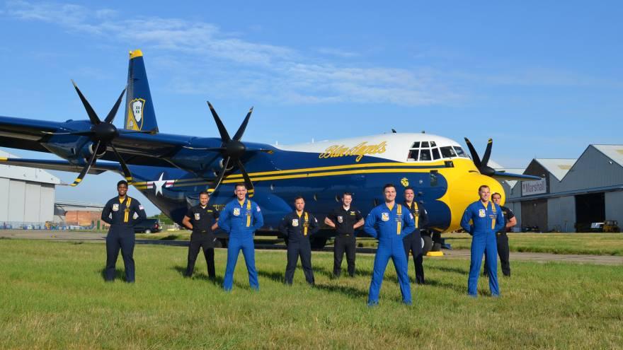 Blue Angels' new C-130J flies away home