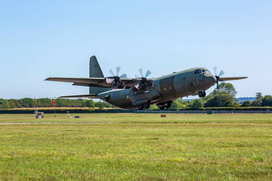 First C-130J with new centre wing returns to RAF