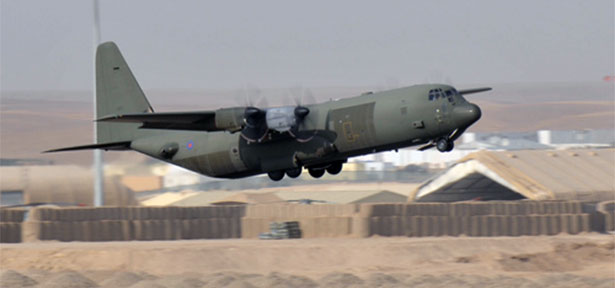 C-130 taking off from Camp Bastion Airfield, Afghanistan