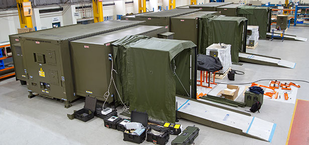 The three French CT Scanners supplied by Marshall Aerospace and Defence Group prior to handover. These units can be scanning patients within eight hours of deployment due to the novel design of the system.