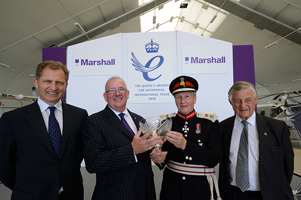 L-R Robert Marshall – CEO Marshall of Cambridge, Steve Fitz-Gerald – CEO of Marshall Aerospace and Defence Group, Sir Hugh Duberly – Lord Lieutenant of Cambridgeshire and Sir Michael Marshall – Chairman of Marshall of Cambridge