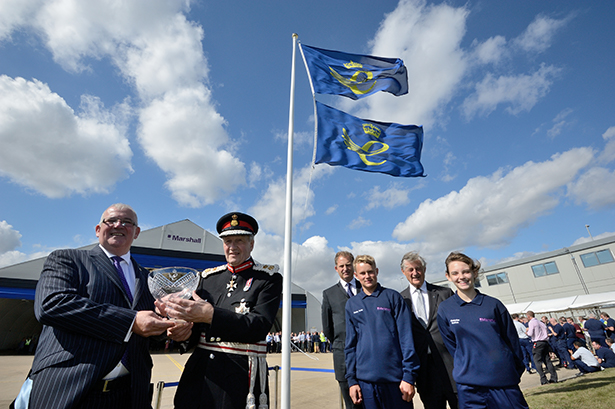 L-R Steve Fitz-Gerald, CEO Marshall Aerospace and Defence Group, Sir Hugh Duberly – Lord Lieutenant of Cambridgeshire, Robert Marshall – CEO Marshall of Cambridge, Stanley Carter – first year apprentice, Sir Michael Marshall – Chairman of Marshall of Cambridge and Kimberlee Gretton – first year apprentice